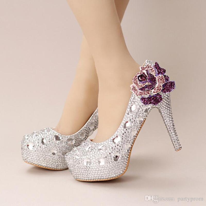 1b0a3e7f9e8 Silver Crystal Wedding Shoes Ultra High Heel Platform Bride Shoes Round Toe  Graduation Party Prom Shoes Purple Rhinestone Flower