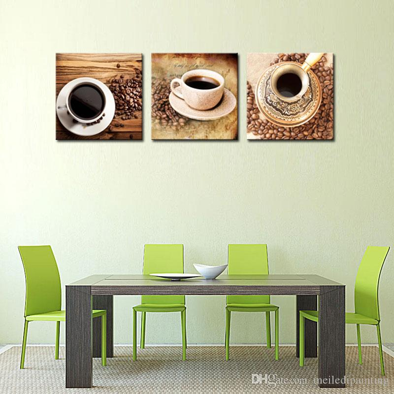 Canvas Painting Coffee Cup Wall Art For Coffee House Decor Coffee Beans Ready to Hang with Wooden Framed Gifts Wall Decoration