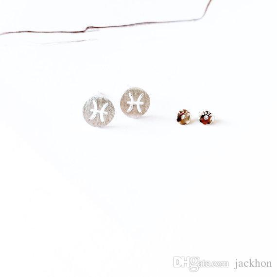 - S026 Zodiacal Piscis Pendientes Signos Zodiac Constellation Pendientes Horóscopo Astrología Disco Coin Stud Pendientes para Regalos de cumpleaños