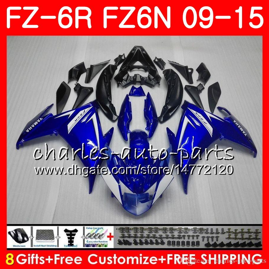 Cuerpo para YAMAHA FZ6 FZ6N R FZ6N FZ6R 09 10 11 12 13 14 15 top azul negro 82HM2 FZ6R FZ FZ 6 N 6R 2009 2010 2011 2012 2013 2014 2015 carenado