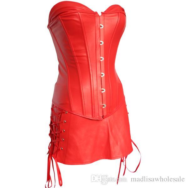 Gran tamaño Sexy negro / rojo corsé de las mujeres de piel sintética gótica Bustier Ladies Underwear Shapewear ata para arriba el vestido del corsé de Overbust para el partido 0844