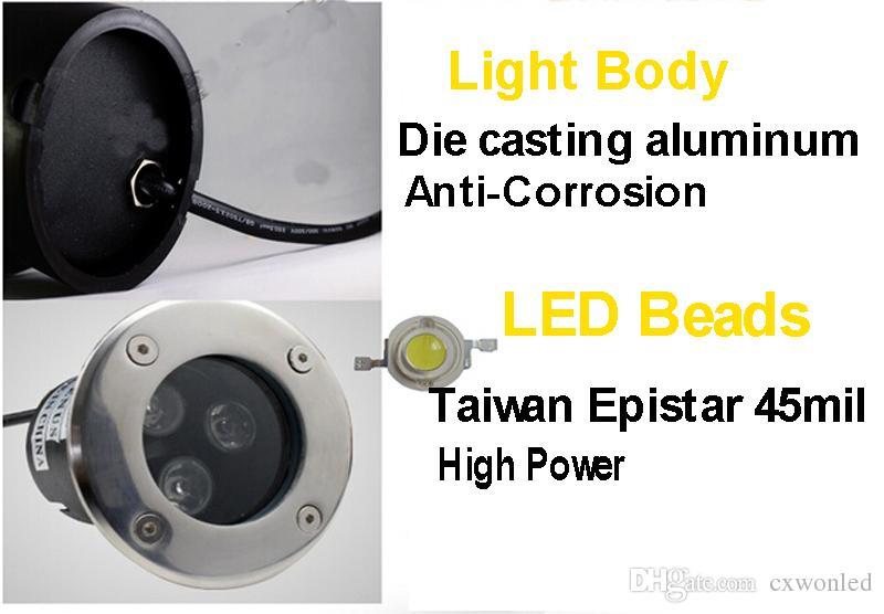 LED Underground Lumière lampadaire IP67 Étanche 3W 85-265V LED Extérieure Terre Jardin Chemin Plancher Lampe Lampe Paysage lumière blanc rgb
