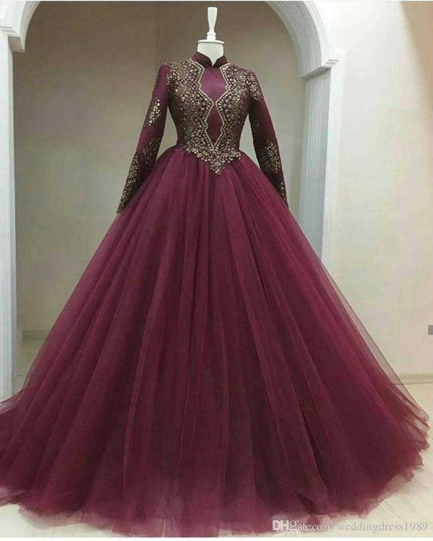 Noble Beads Muslim High Neck Evening Dresses Tulle Middle East Winter 2018 Long Sleeve Long Party Prom Ball Gowns Dress Formal
