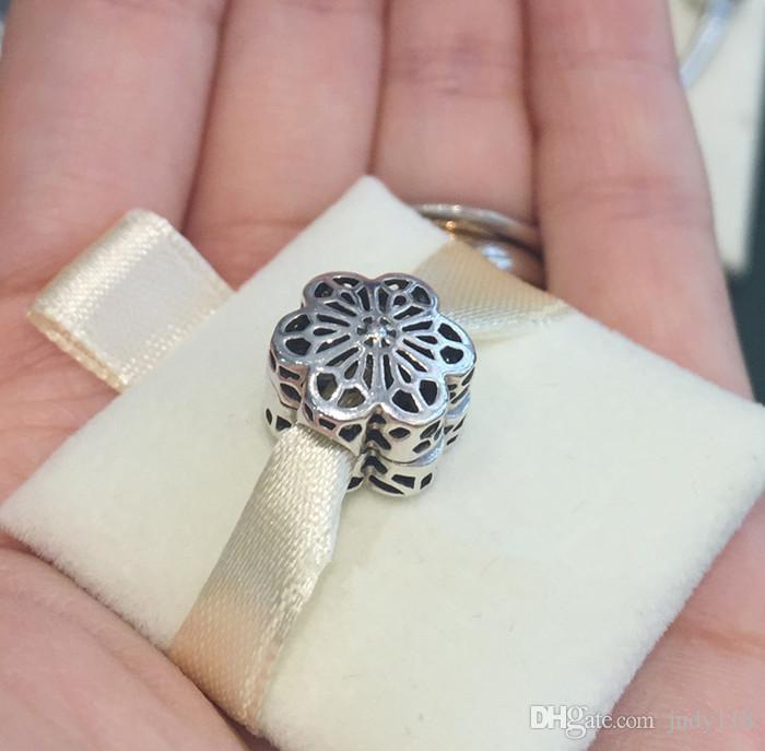 Spring Collection Silver Floral Daisy Lace Charms Beads 925 sterling silver clip bead fit S925 bracelets bangles DIY For Women fine Jewelry