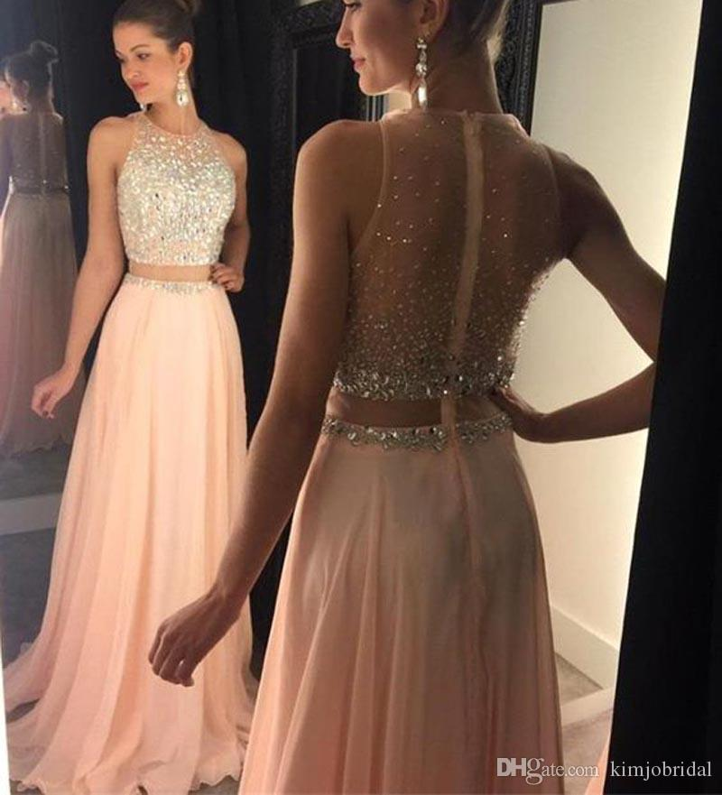 Peach Prom Dresses Two Pieces 2017