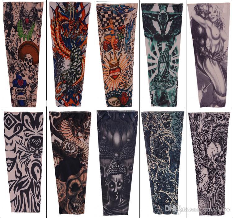 Manga De La Moda Del Tatuaje De Nylon Elástico De La Mezcla Del
