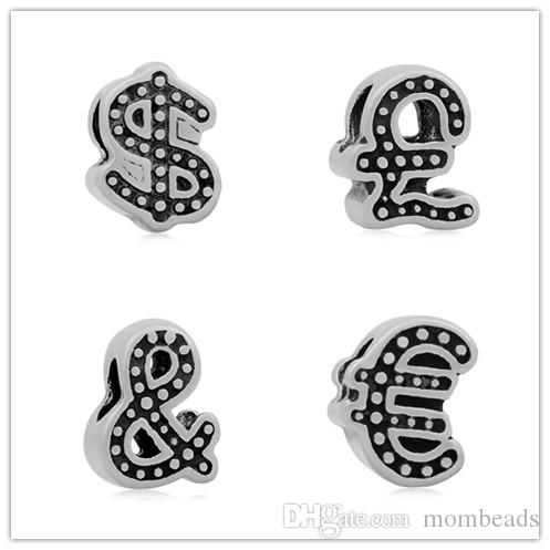 2018 Vintage Money Symbols Stainless Steel Pandora Big Hole Beads
