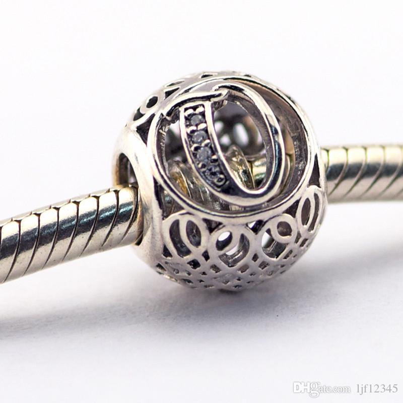 Vintage Lettera Q Clear CZ Perline Adatto Pandora Bracciali Perline Autentico Sterling-Silver Perline Fascino DIY Charms all'ingrosso LE015-Q