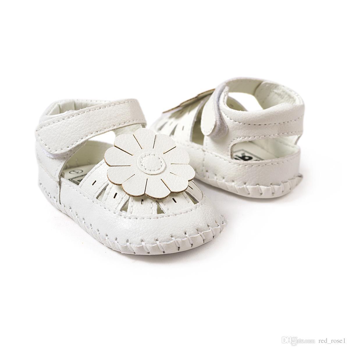 Детские первые ходунки новая мода лето детские Gilrs сандалии закупоривает Белый плоский с мягкой младенческой малыша детские девушки сандалии Детская обувь 0-24 месяцев