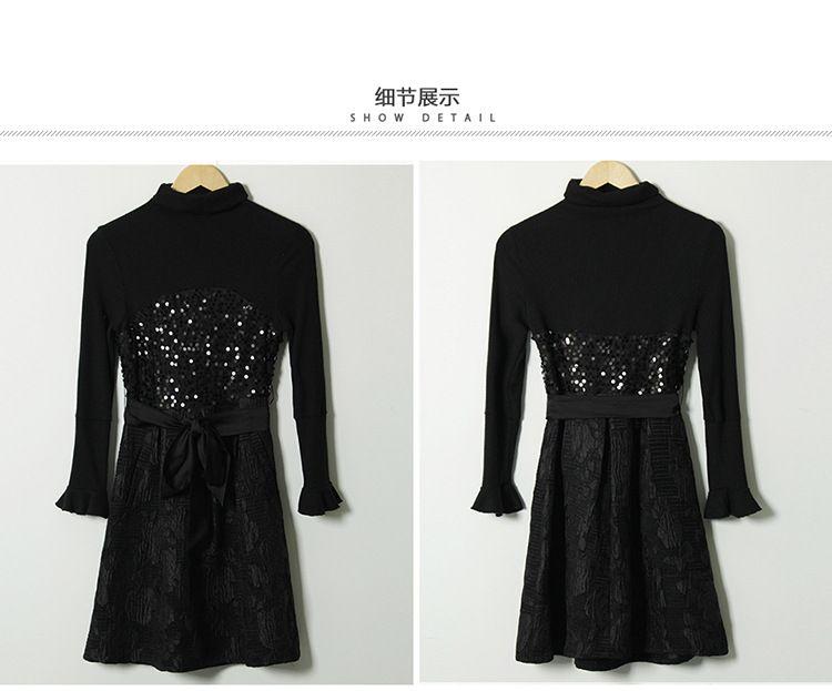 2016 yeni gelmesi sonbahar uzun kollu siyah Jakarlı Elbise sequins boncuk balıkçı yaka örme kazak kısa etek