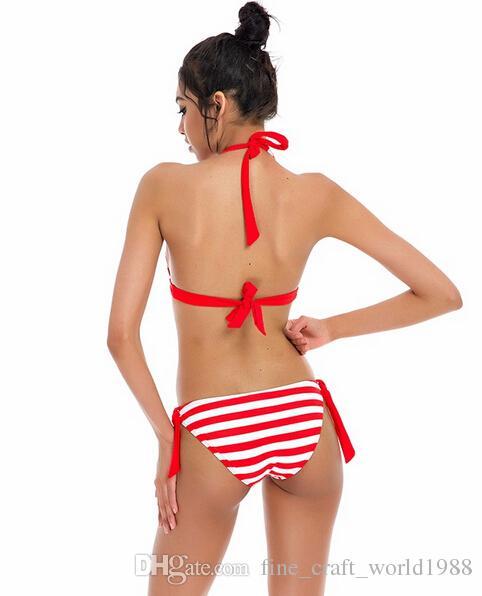 nuovo 2019 NAKIAEOI Sexy Bikini Costume da bagno donna Costumi da bagno Halter Top Plaid Brazillian Bikini Set Costume da bagno Summer Beach Wear Biquini