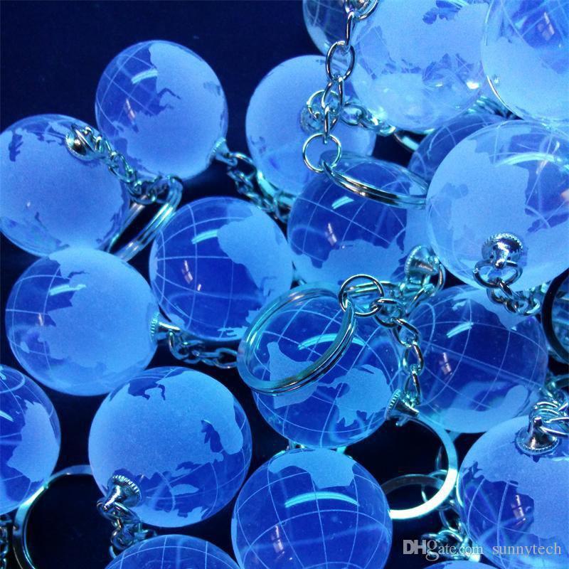 30 мм Хрустальный Глобус Стеклянный Шар Мира Брелок Брелок Chaveiro Очарование Свадьба Baby Shower Пользу Бизнес-Подарки ZA4411