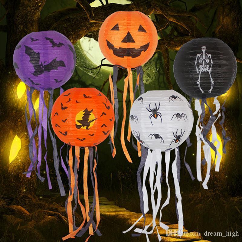 Decorazione di Halloween Lampada a sospensione a LED a forma di zucca con lanterna di carta Puntelli di Halloween Articoli feste all'aperto Prezzo di fabbrica