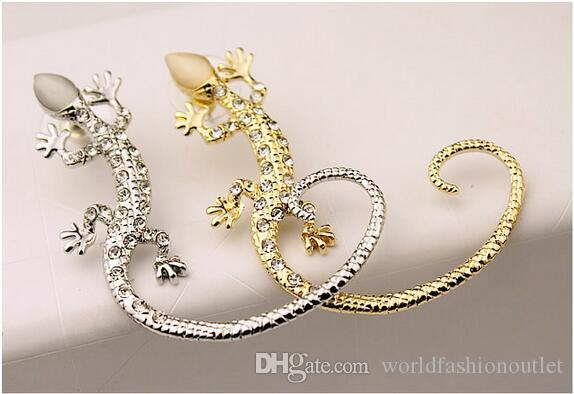 Earcuff Mode Oor Manchet Rhinestone Oorbellen Gouden Verzilverd Lizard Stud Oorbellen Super Leuke Crystal Clip On Oorbellen voor Vrouwen Sieraden