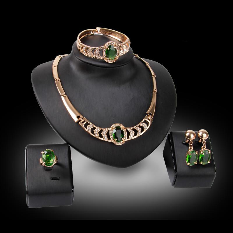 9c8fd4d5c66f Compre Brazalete Collar Pendientes Anillo Conjunto De Joyas Moda Lujo Verde  Imitación Piedras Preciosas 18K Chapado En Oro Partido Joyas Conjunto De 4  ...