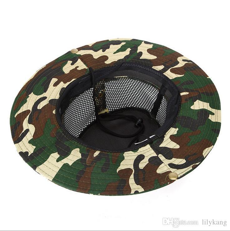 deporte al aire libre de los sombreros de pesca sombrero Gorras del camuflaje pescador de senderismo malla traving playa pesca de la manera sombrero para sombreros para el sol