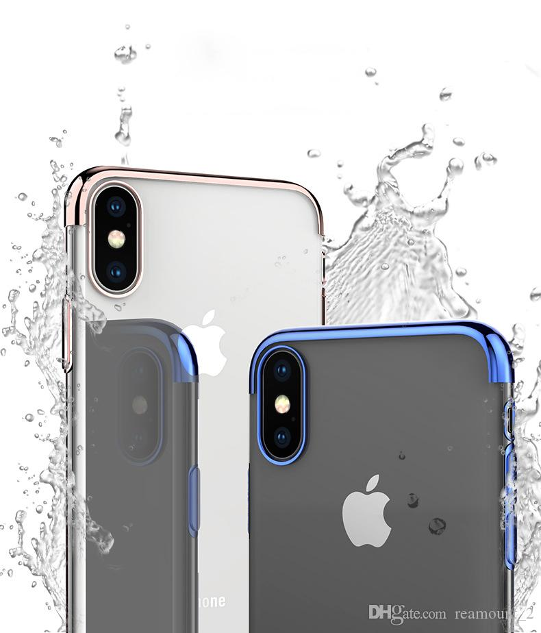 Plating Soft TPU Phone Case for iPhone 8 Plus Cover Clear Silicon Transparent Rubber Cover for iPhone 8 Plus Case Coque
