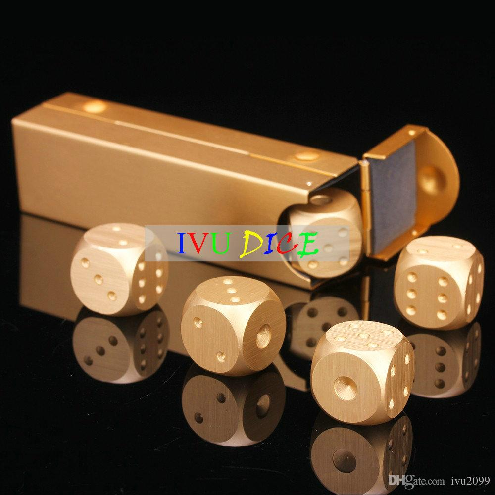 16MM Aluminum Alloy Silver Color Solid Dice Poker Party Game Dominoes Table Board Game Drinking Portable Dados Boyfriend Gift IVU