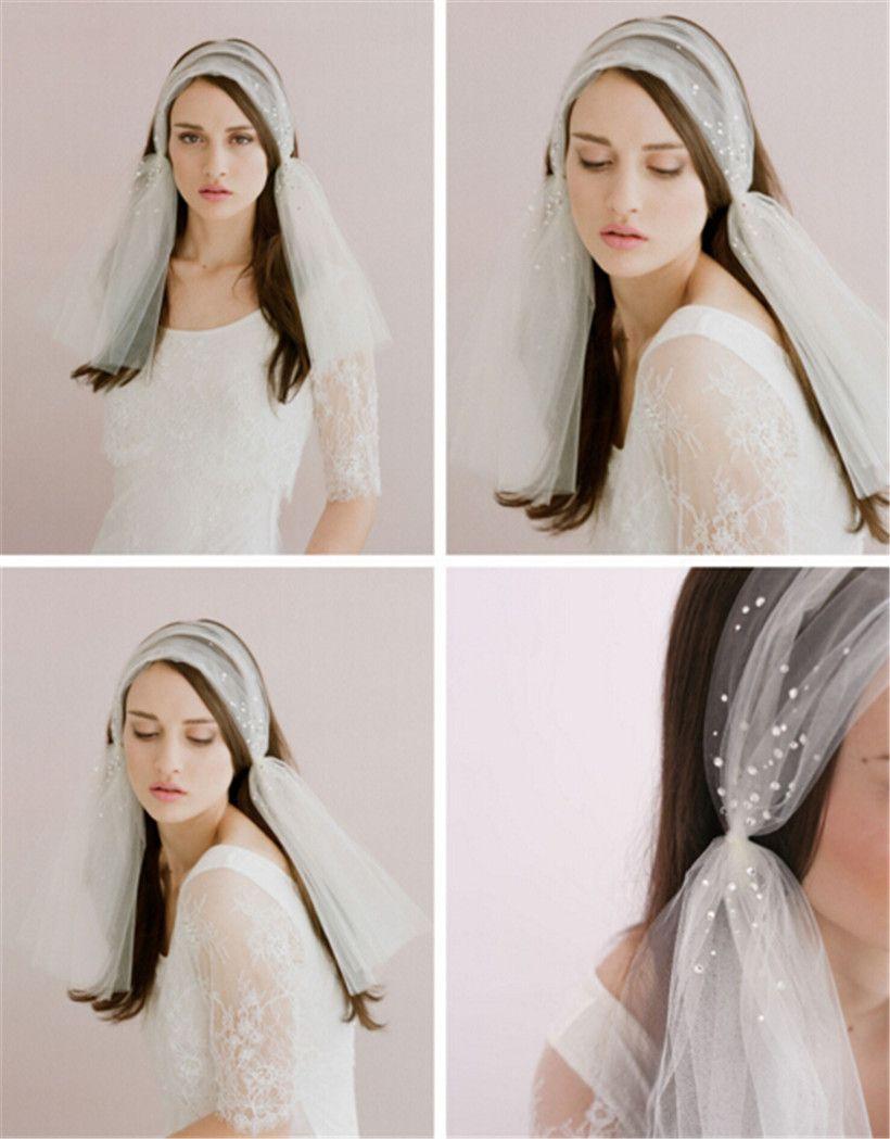 Vintage Wedding Bridal White Veil Shoulder Length Hair Clip Crystal Rhinestone Veil Band Accessories Tiara Headband