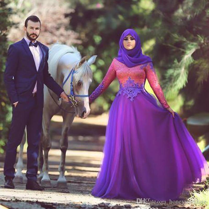 Скромные Мусульманские Свадебные Платья 2016 Новые Длинные Рукава Кружева Топ Высокая Шея Хиджаб Арабские Женщины Плюс Размер Свадебные Платья На Заказ
