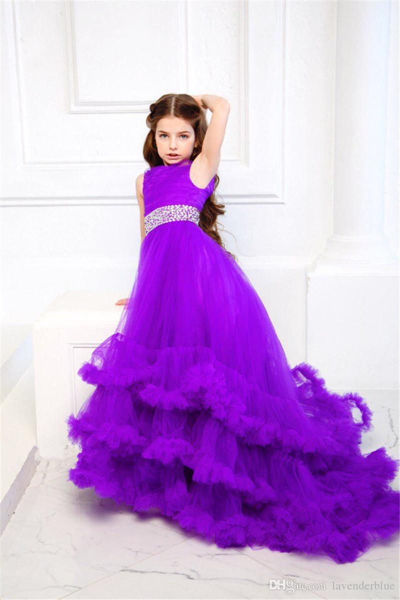 Hot Sale Ruffles First Communion Dresses For Girls Purple Sleeveless ...