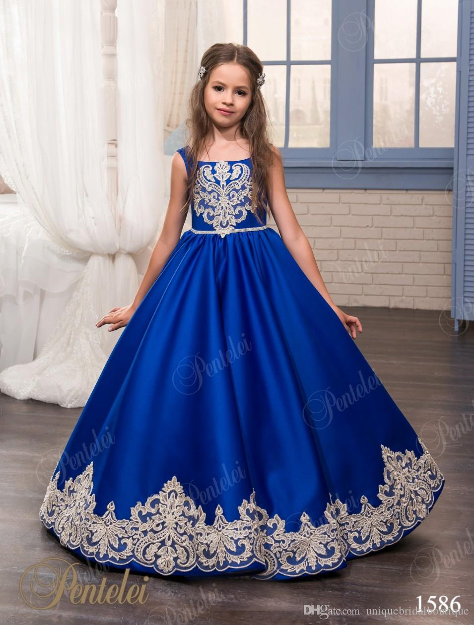 Kids Christmas Dresses For Party 2017 Royal Blue Girl Birthday ...