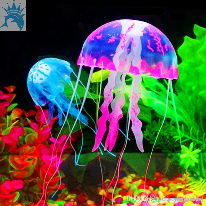 Cute Fluorescent Glowing Effect Jellyfish Aquarium Fish Tank
