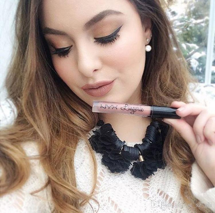 NYX lip lingerie liquid Matte Lip Cream Lipstick NYX Charming Long-lasting Waterproof Lip Gloss Makeup DHL free