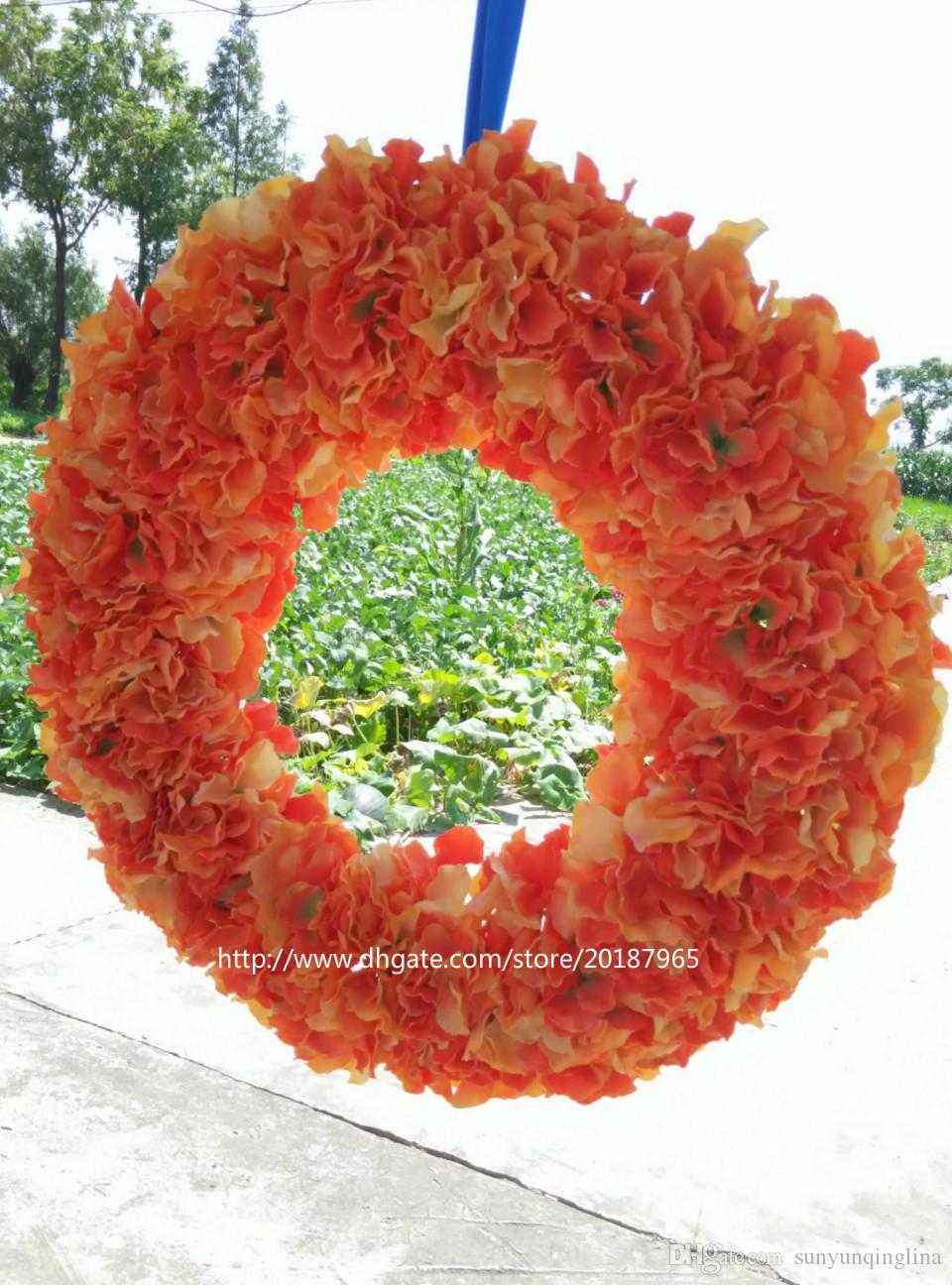 2018 Custom Orange Hydrangea Wreath Front Door Mounted Wreaths 20 Inches  Autumn Wreath Wedding U0026 Housewarming Gift From Sunyunqinglina, $71.36 |  Dhgate.Com