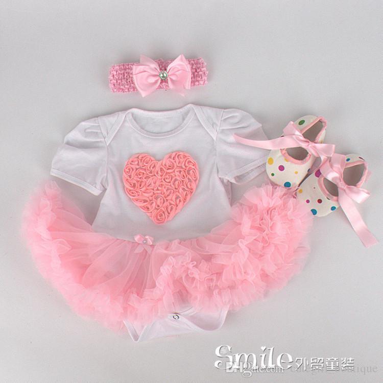 Baby Herbst Oufits Baby Hosenträger 3 Stück Kleid + Haarband + Schuhe Neugeborene Weihnachten Outfits Infant Weihnachten Kleider Baby Summner Baumwolle 3St