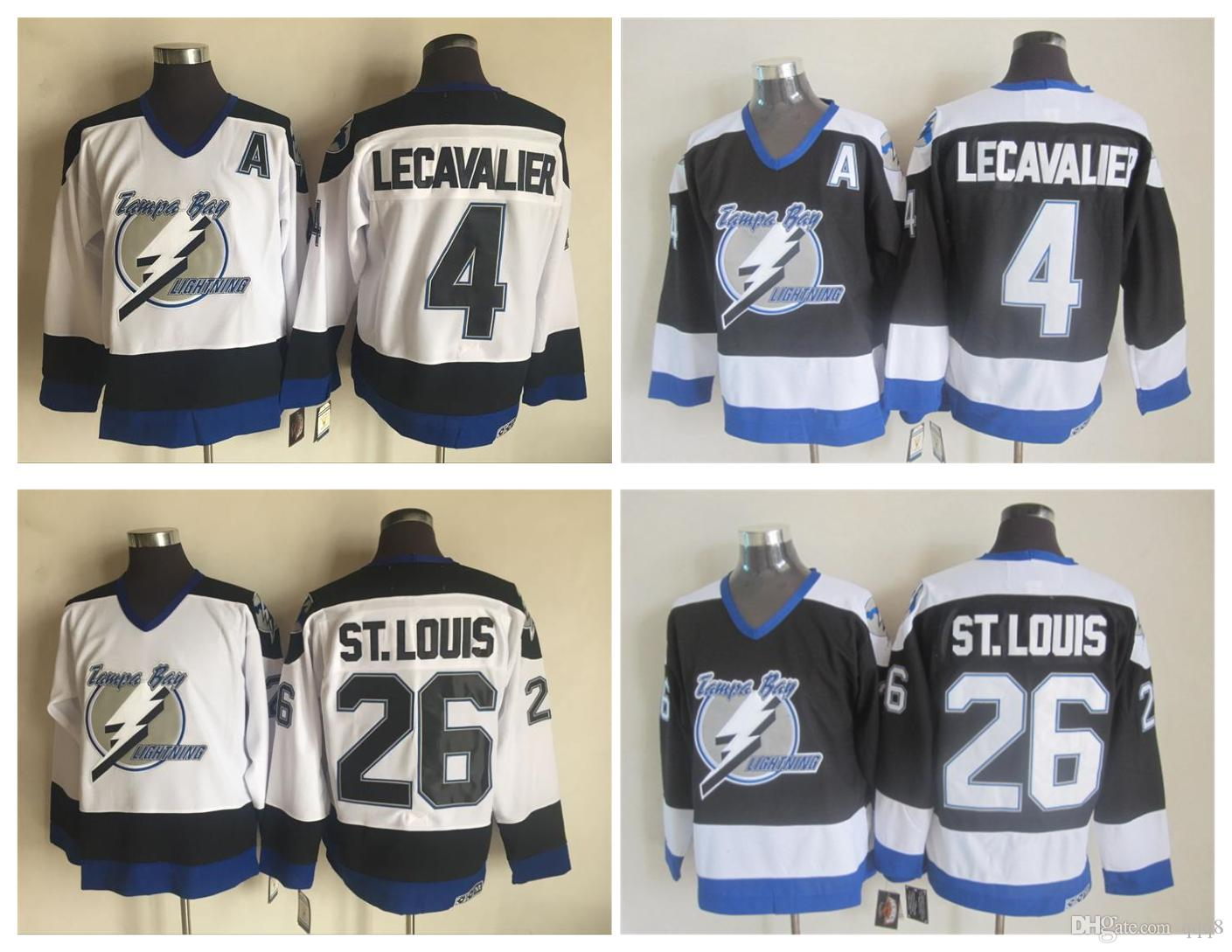 8760a3cf7 2019 Retro Tampa Bay Lightning Hockey Jersey 4 Vincent Lecavalier 26 Martin  St.Louis Jersey Green Vintage CCM Authentic Stitched Jerseys From Qqq8