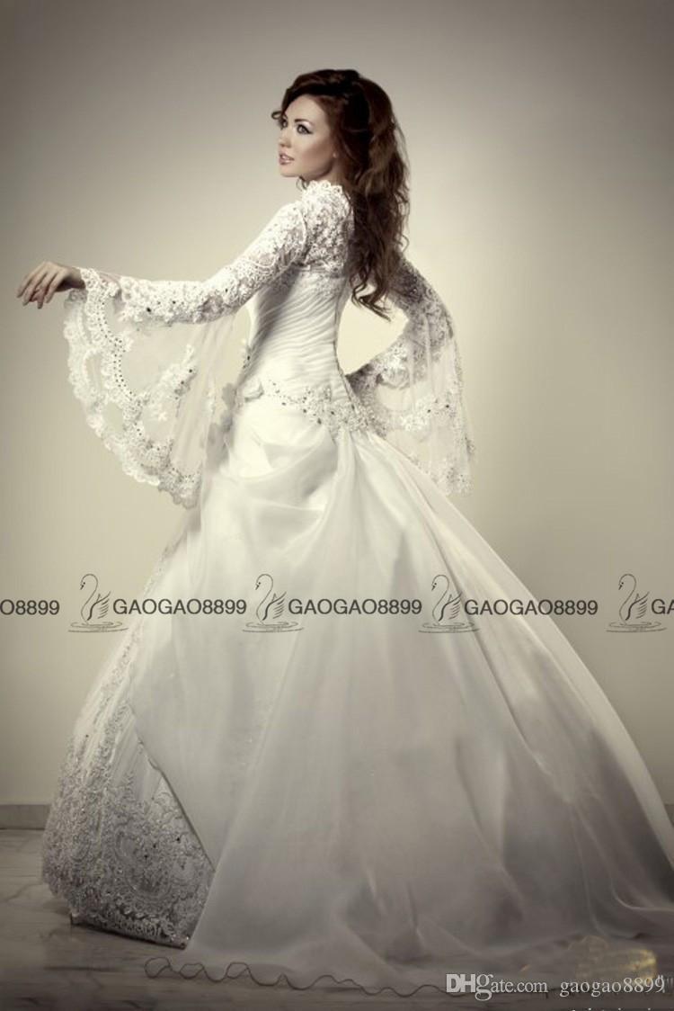 Muslim Wedding Dresses Turkey Ball Gown High Neck Modest Middle East Dubai Arabic Long Sleeve Luxury Lace Beaded Plus Size Wedding Gowns