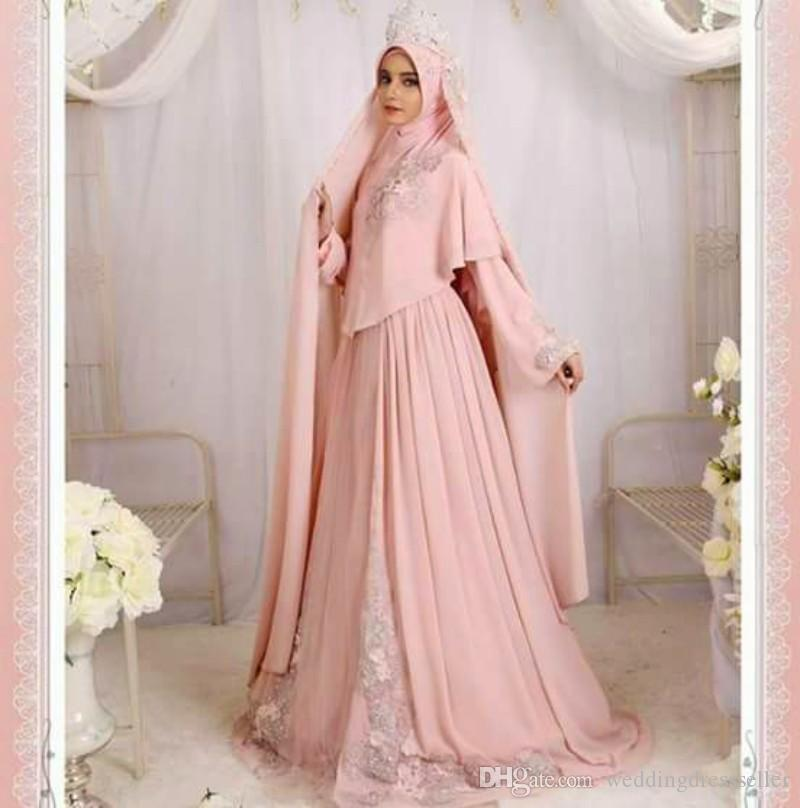 Discount Muslim Wedding Dresses With Cap Veil 2017 Floor Length New Design Morden Dress Lace A Line Pink Charming Queen Bridal Gowns