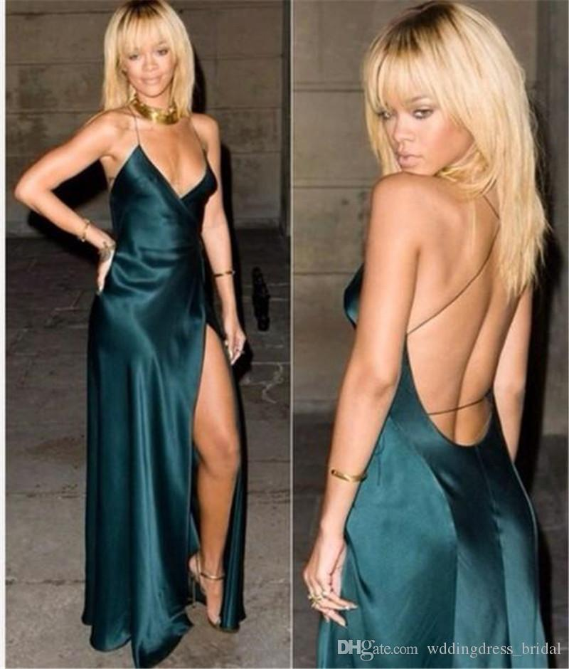 Sexy Backless Dark Green Evening Dresses 2019 Spaghetti Straps A Line Cut Out Cheap Prom Dresses Gowns Red Carpet Celebrity Party Dresses