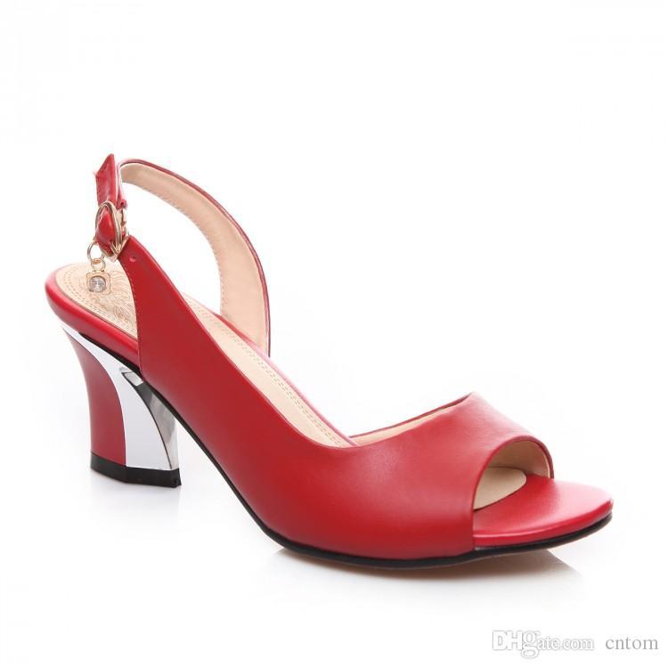 Sandali in vera pelle Nuovo 40 41 42 43 tacco alto 6CM Classico di alta qualità Rosso femminile piccoli cantieri estivi EUR Taglia 33-44