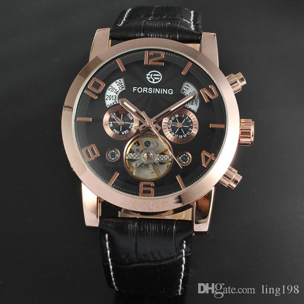 Of high quality men's business casual and simple scale three false eye rose gold case a belt five-pin flywheel mechanical watches A178