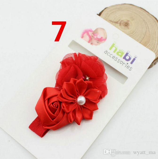 Baby girls Flower headbands Children Infant Pearl Satin hairbands Hair Accessories Flower Elastic Lace Hair Bands for Kids