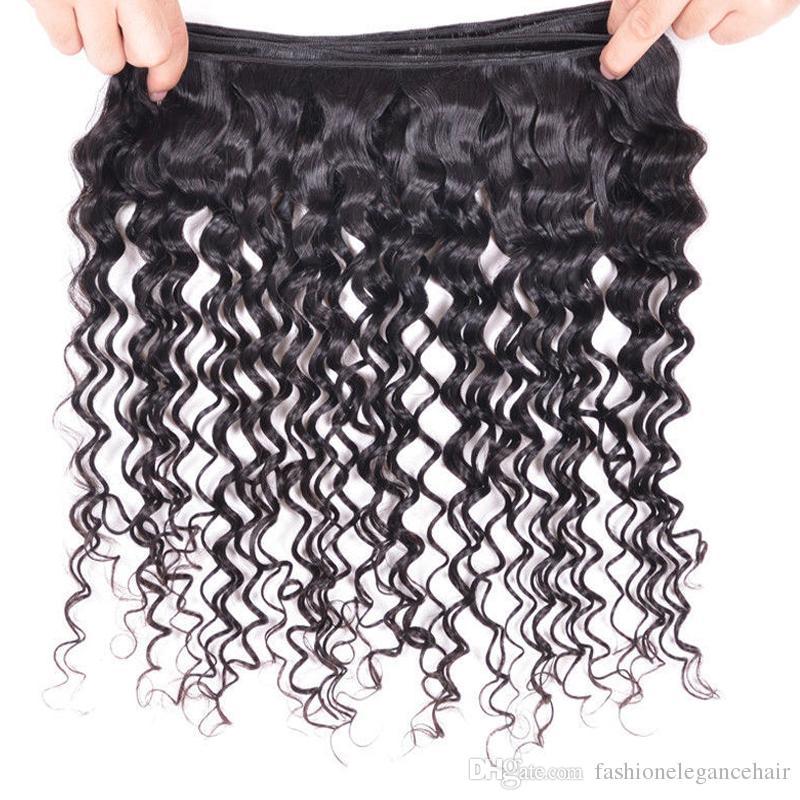 Derin Dalga Brezilyalı Saç 100 g / adet 100% Işlenmemiş Brezilyalı derin Dalga Virgin İnsan Saç Uzantıları Doğal Geri Yumuşak Boyalı Olabilir Hiçbir arapsaçı