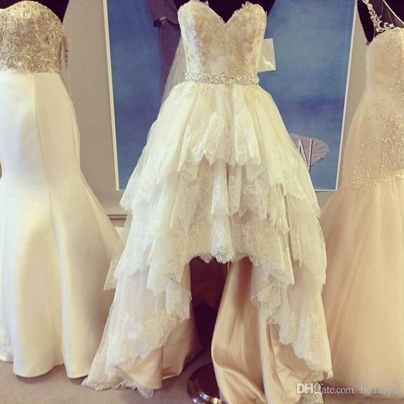 Discount Vintage Lace High Low Wedding Dress A Line Sleeveless Beads ...
