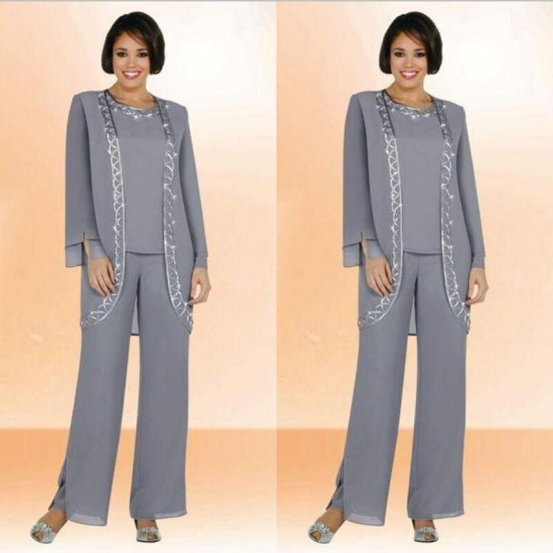 Modest 2019 Grey Chiffon Mother Of The Bride Pant Suits With Long Sleeve Jacket Jewel Neck Column Embroidery Grey Formal Suits Custom Made