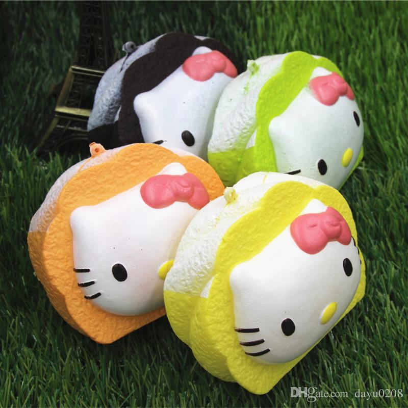 -10cm jumbo kawaii hello kitty Squishy slow rising bread Wrist Pad soft squishies Pendant Girl Gift wholesale