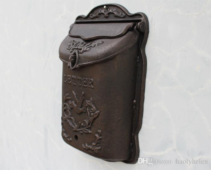 7.3kg Heavy Cast Iron Mailbox Garden Decorations Wall Mounted Bird Metal Mail Box Postbox Home Decor Vintage