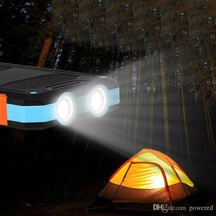 20000mAh Reisen Tragbare Wasserdichte Solar Power Bank 2 USB External Panel Laden Dual LED LED-Kompass Für alle Telefone