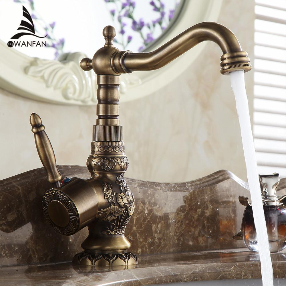 Best Basin Faucets Antique Brass Bathroom Faucet Basin Carving Tap Rotate  Single Handle Hot And Cold Water Mixer Taps Crane Al 9966f Under $192.44 |  Dhgate.
