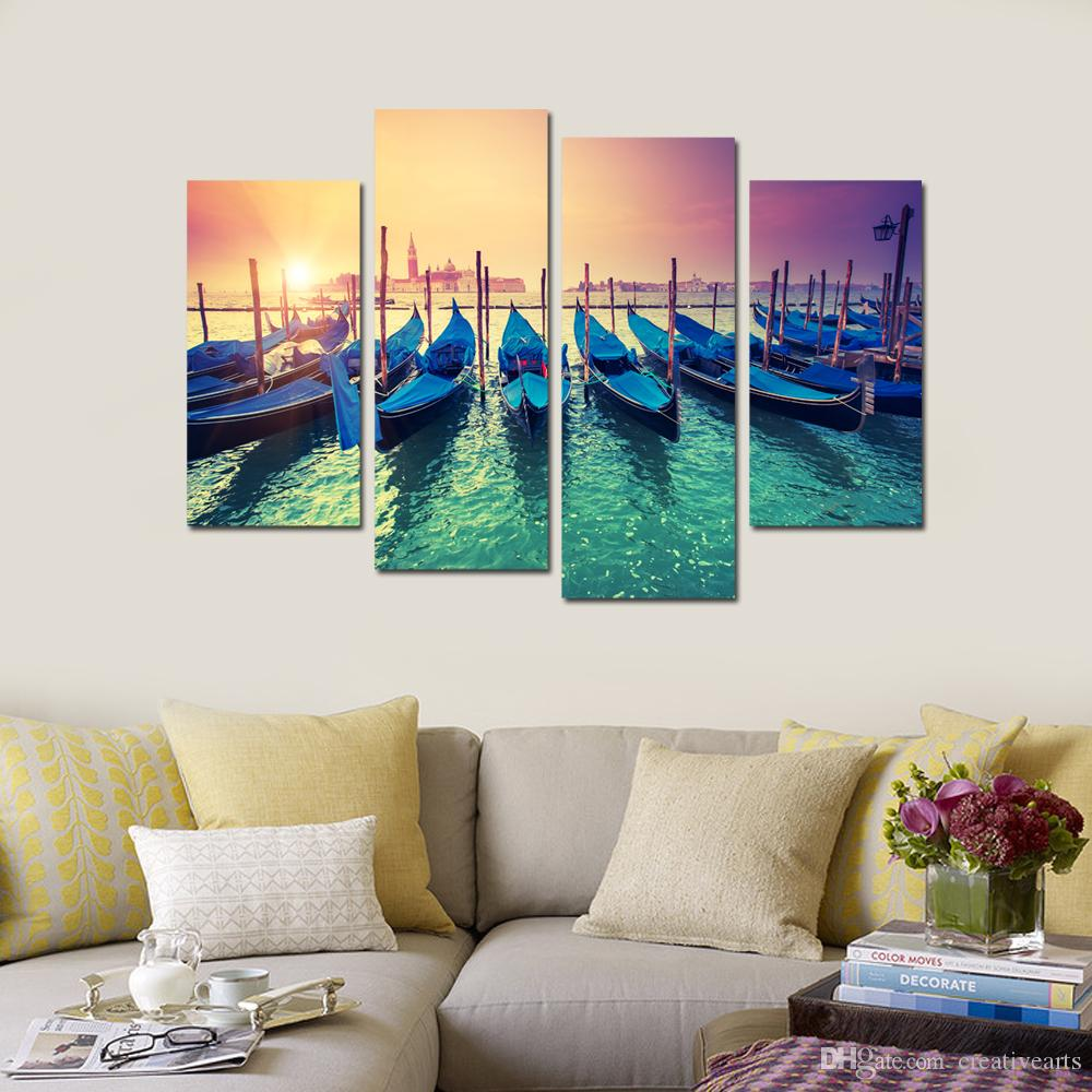 Modern Canvas Painting Wall Art Fishing-boat in Sunrise Canvas Printing Seascape for Living Room Dining Room Bathroom Office Canvas Set of 4