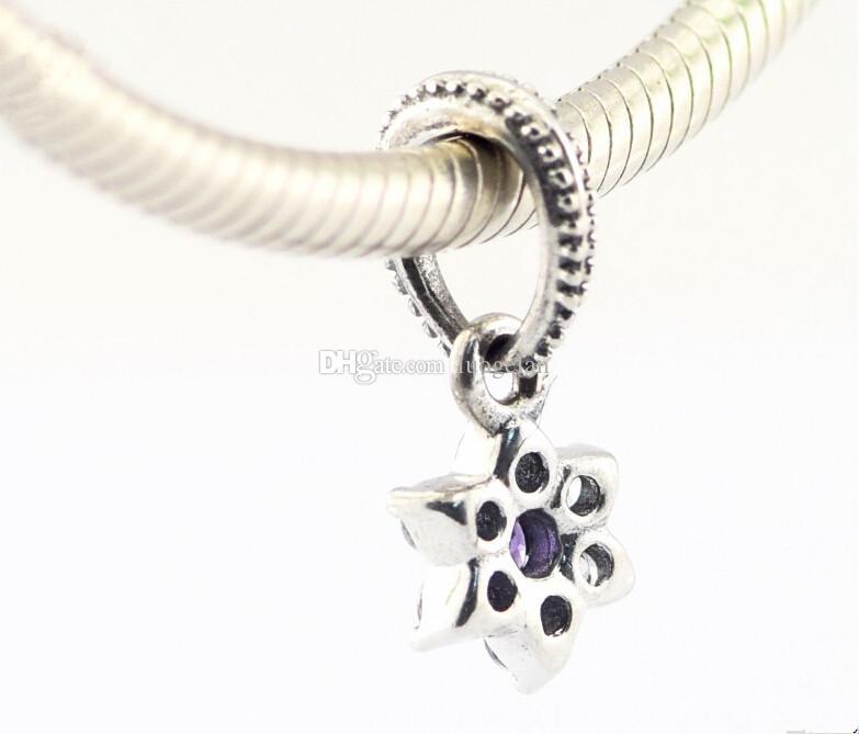 Pandora Violet et Clair Cz Oubliez-moi pas Fleur Pendentif Charms 925 en argent sterling perles lâches pour fil bracelet fashon bijoux authentique