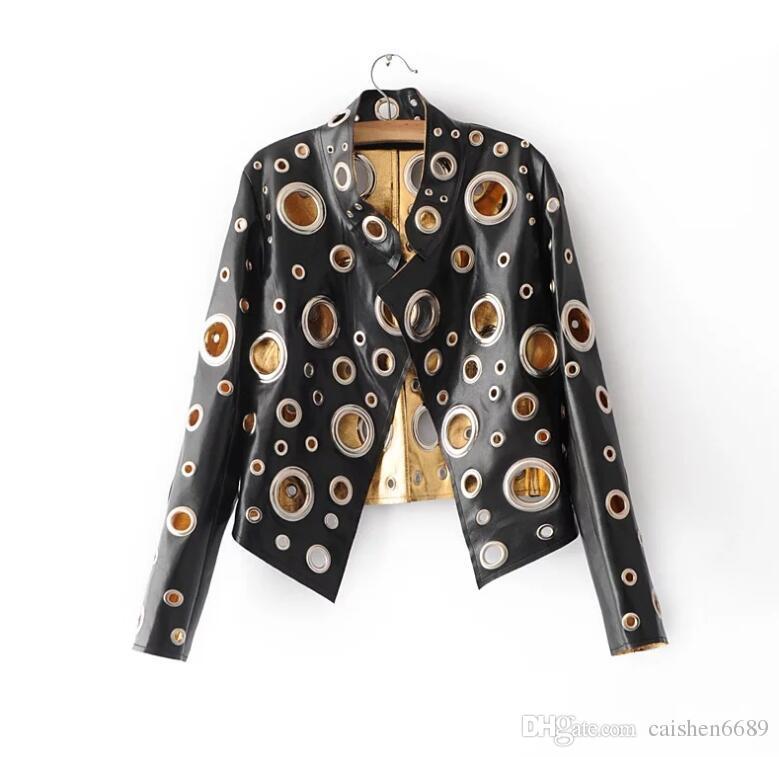 블랙 리벳 가죽 자켓 여성 2017 골드 PU 코트 여성 의류 짧은 슬림 오토바이 자켓 여성 캐주얼 재킷