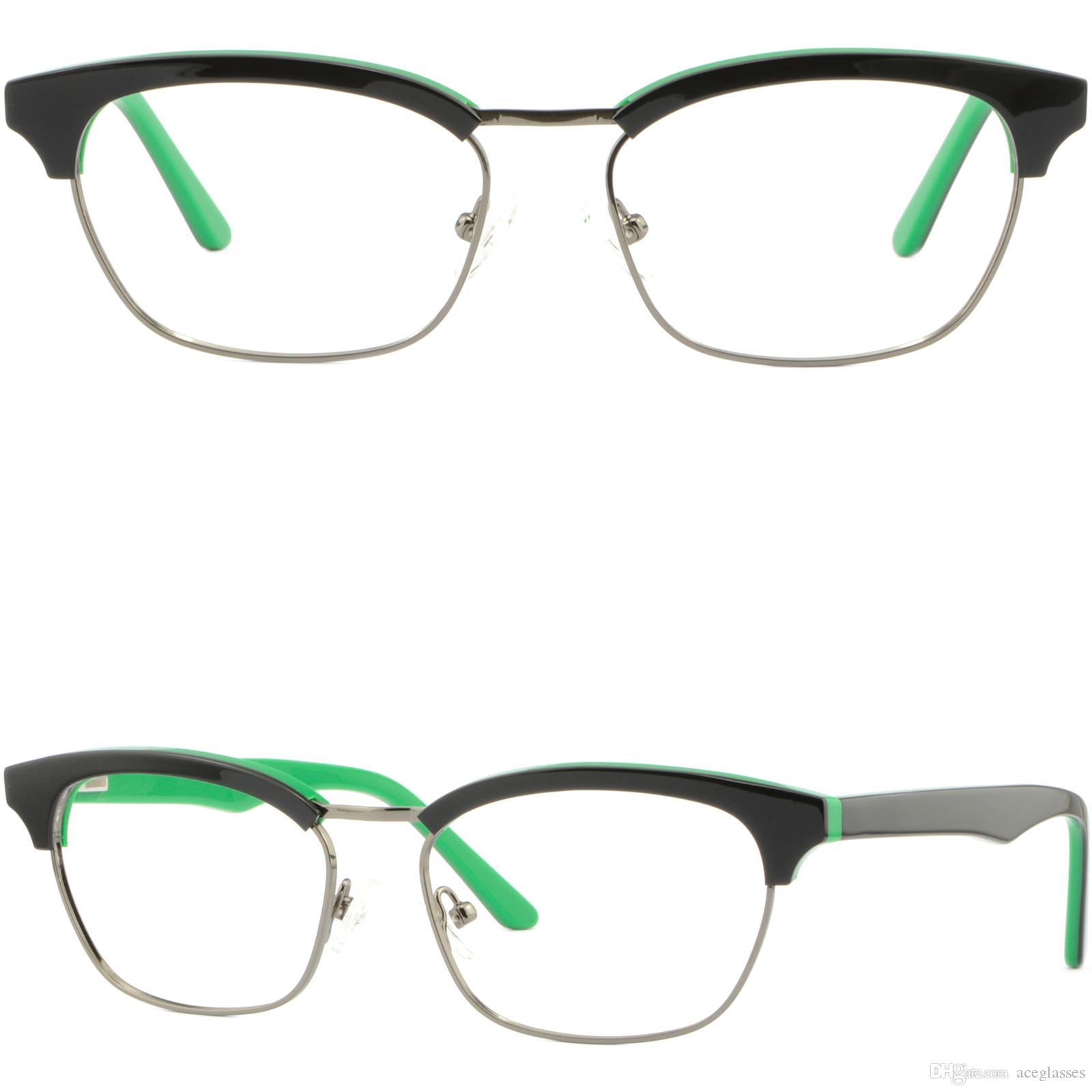 318cb6fffbc Black Green Women Girls Browline Frames Acetate Glasses Eyeglasses Spring  Hinges Inexpensive Eyeglass Frames Japanese Eyeglass Frames From  Aceglasses