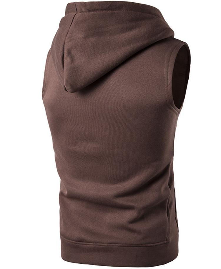 Solid Color Vest Sleevelss Hooded Drawstring Big Pockets Design Brief Style Pullover Slim Fit For Man Sports Vests Free Ship 2019 M20