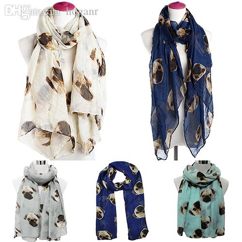 Al por mayor-Mujeres Fantastic Fashion Long Cute Pug Dog Print Voile Wraps Shawl Bufanda suave